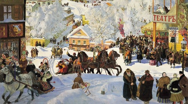 A painting depicting traditional celebration of Maslenitsa