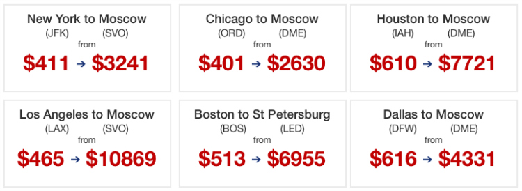 Flights from USA to Russia. Sample price chart