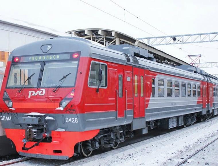 An exterior of an RZHD train